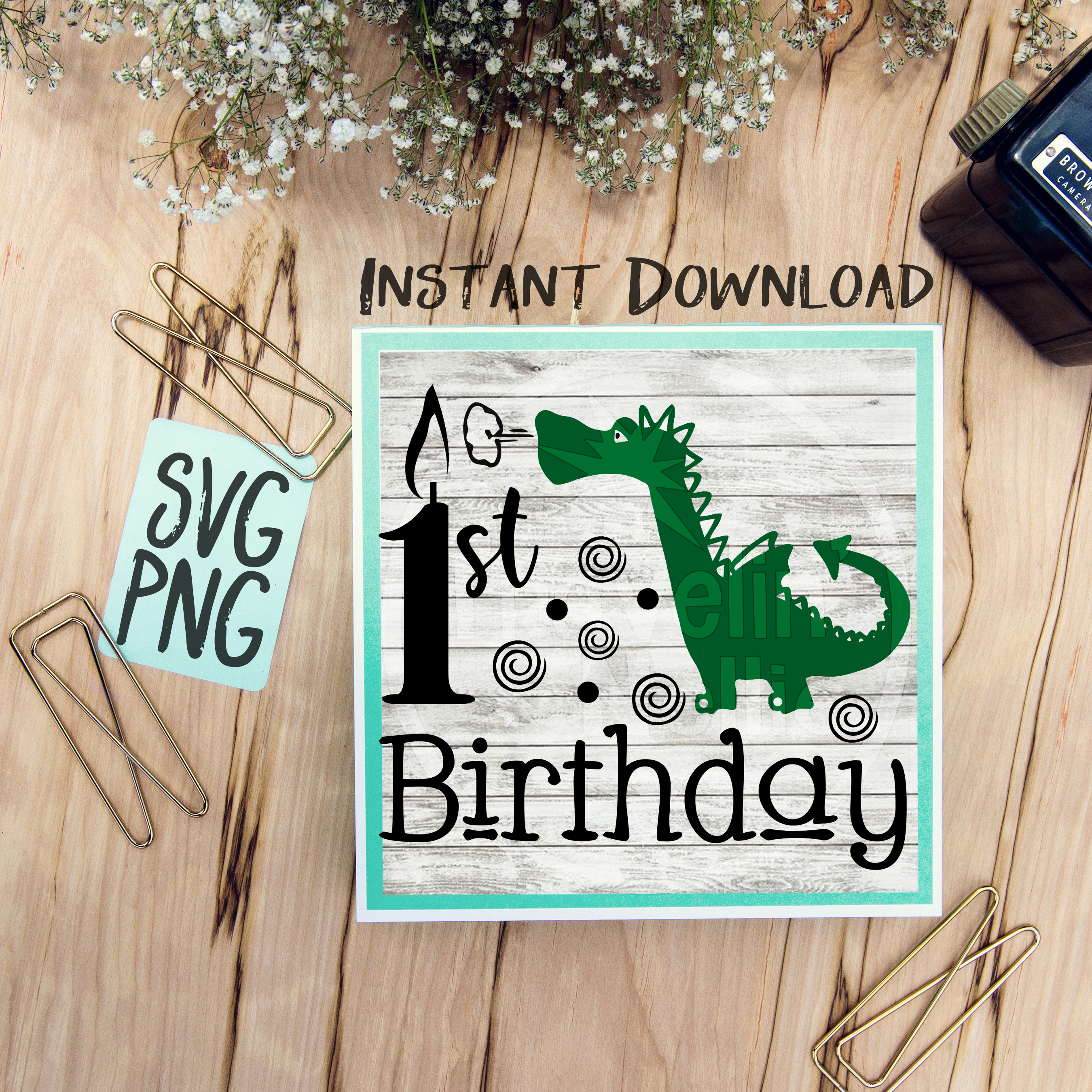 1st Birthday Dragon SVG Image Design for Vinyl Cutters Print DIY Design Brother Cricut Cameo Cutout  example image 1