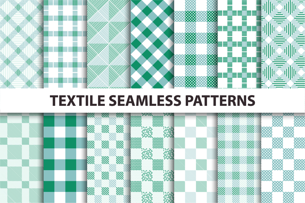 Green Textile Seamless Patterns. example image 1