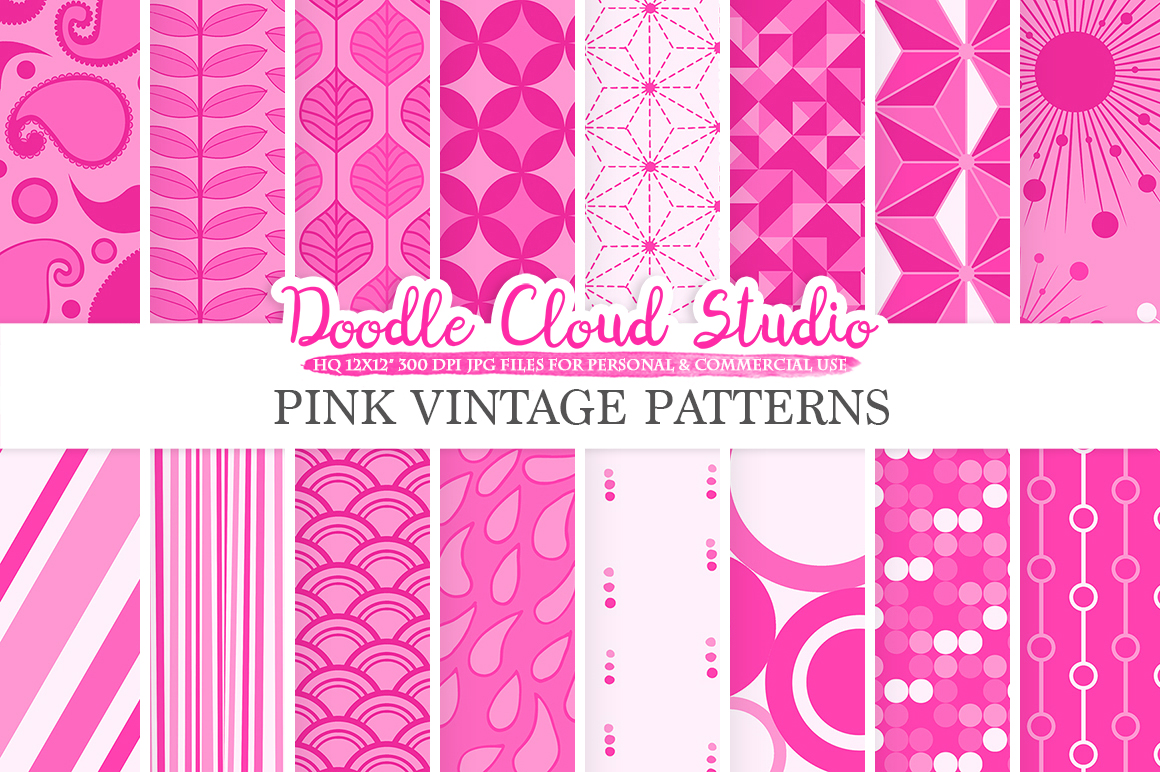 Pink Retro digital paper, Geometric Vintage patterns, Fuchsia digital backgrounds, Instant Download, for Personal & Commercial Use example image 1