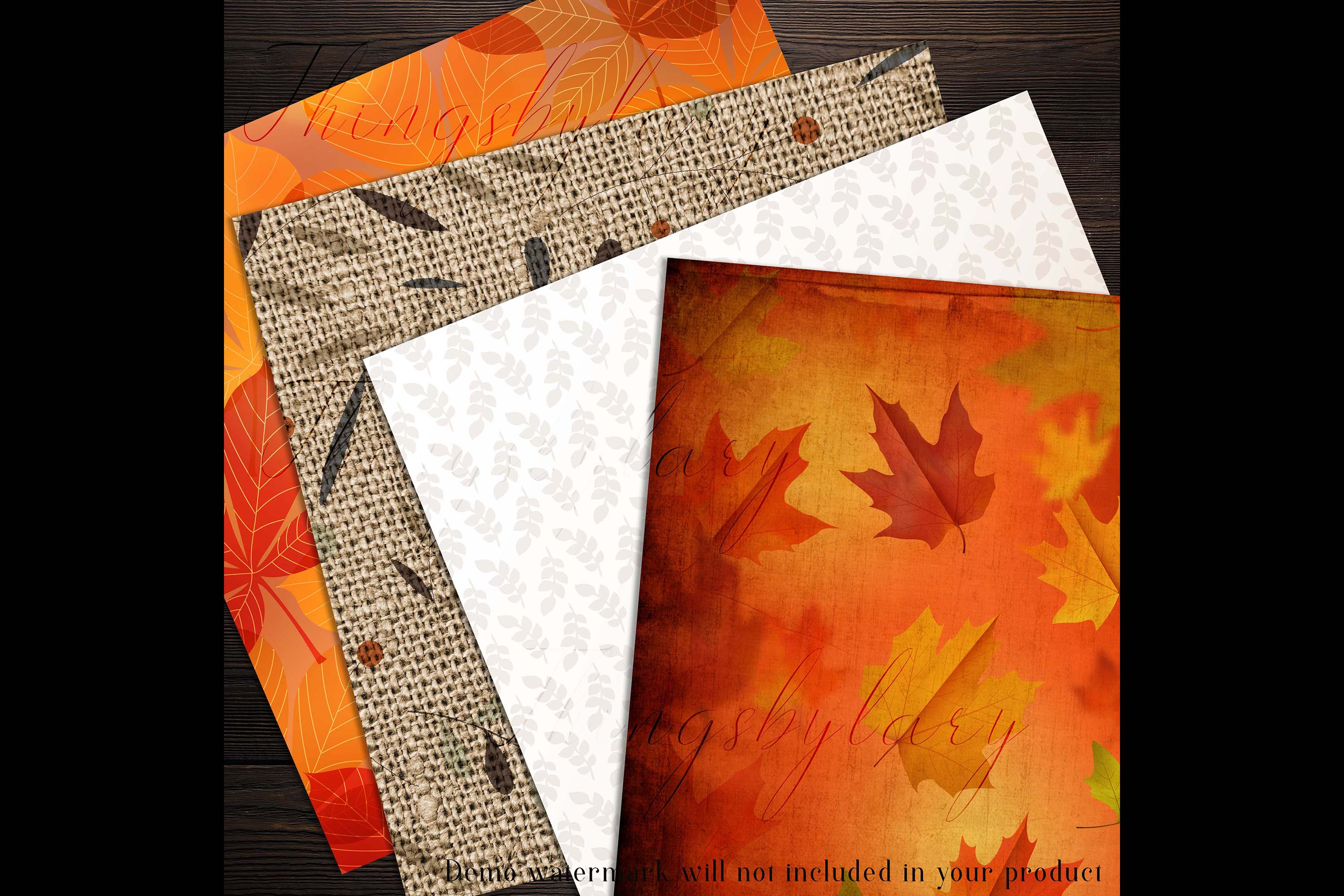 18 Autumn Leaves Digital Papers, thanksgiving fall wedding example image 6