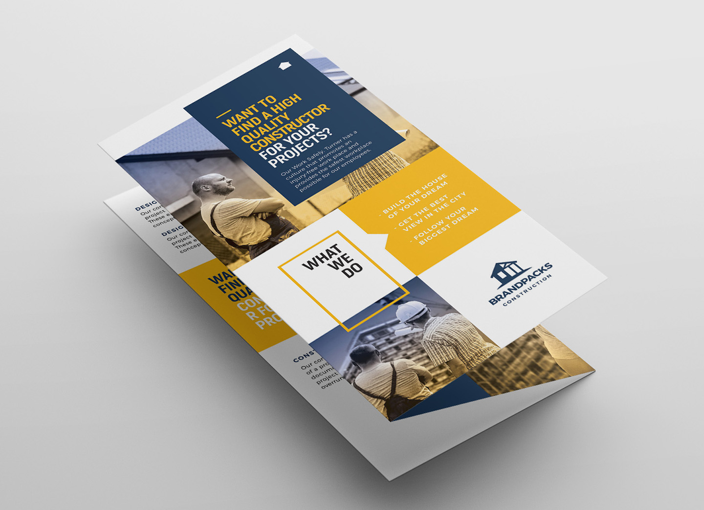 Construction Company Tri-Fold Brochure Template example image 3