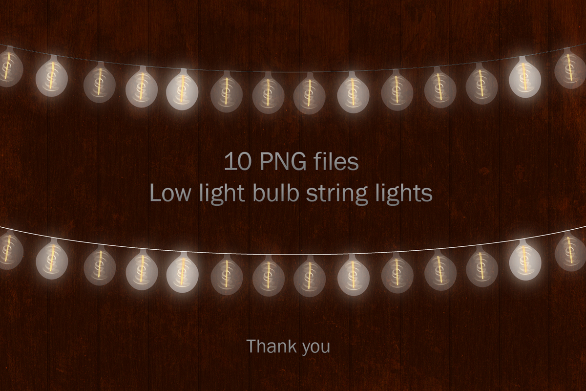 String Lights Clipart, Low Light Bulb, Gold Dreamy Lights example image 5