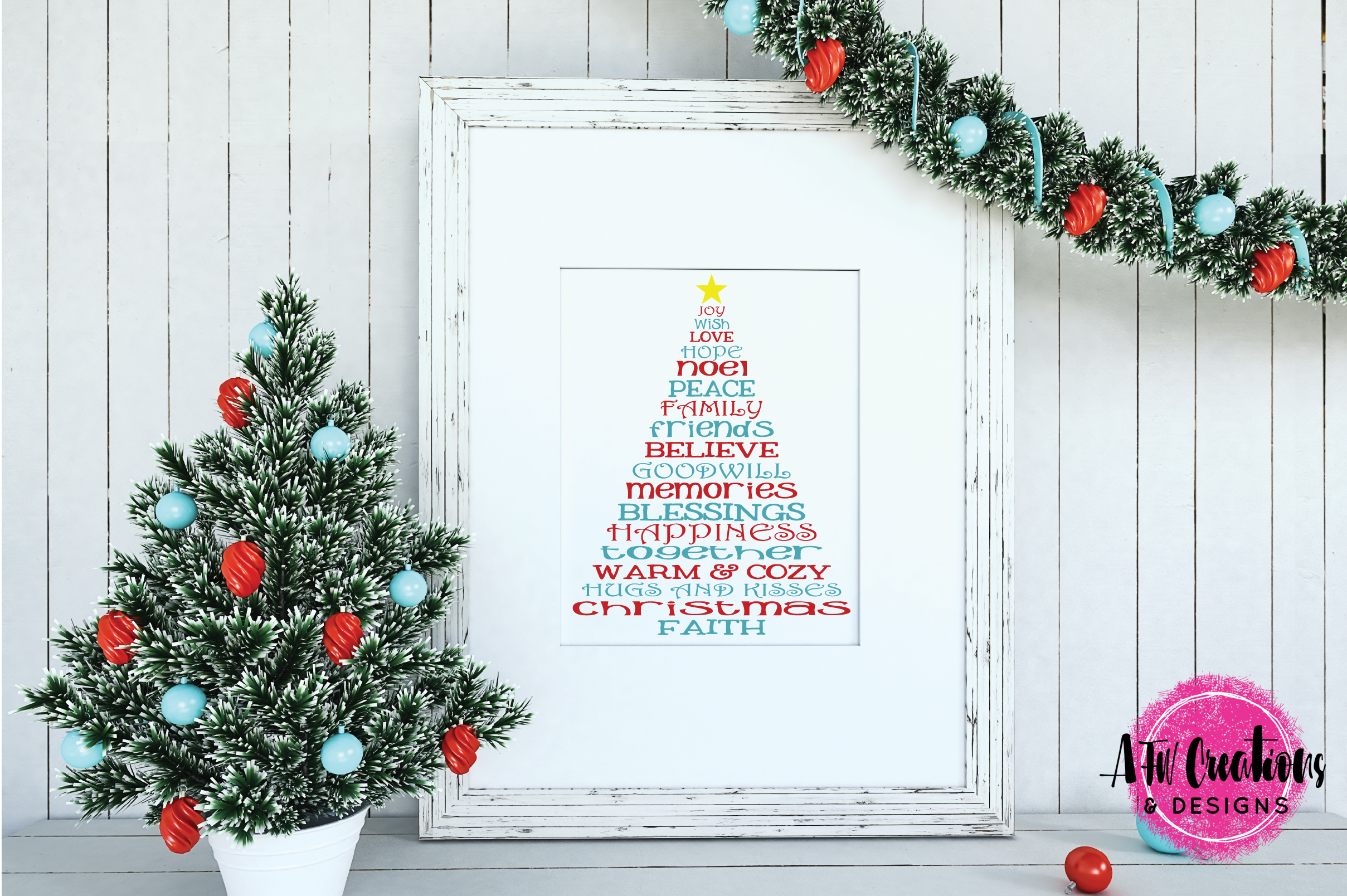 Christmas Word Trees - SVG, DXF, EPS Cut Files example image 2
