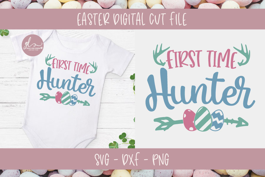 First Time Hunter - Easter SVG Cut File example image 1