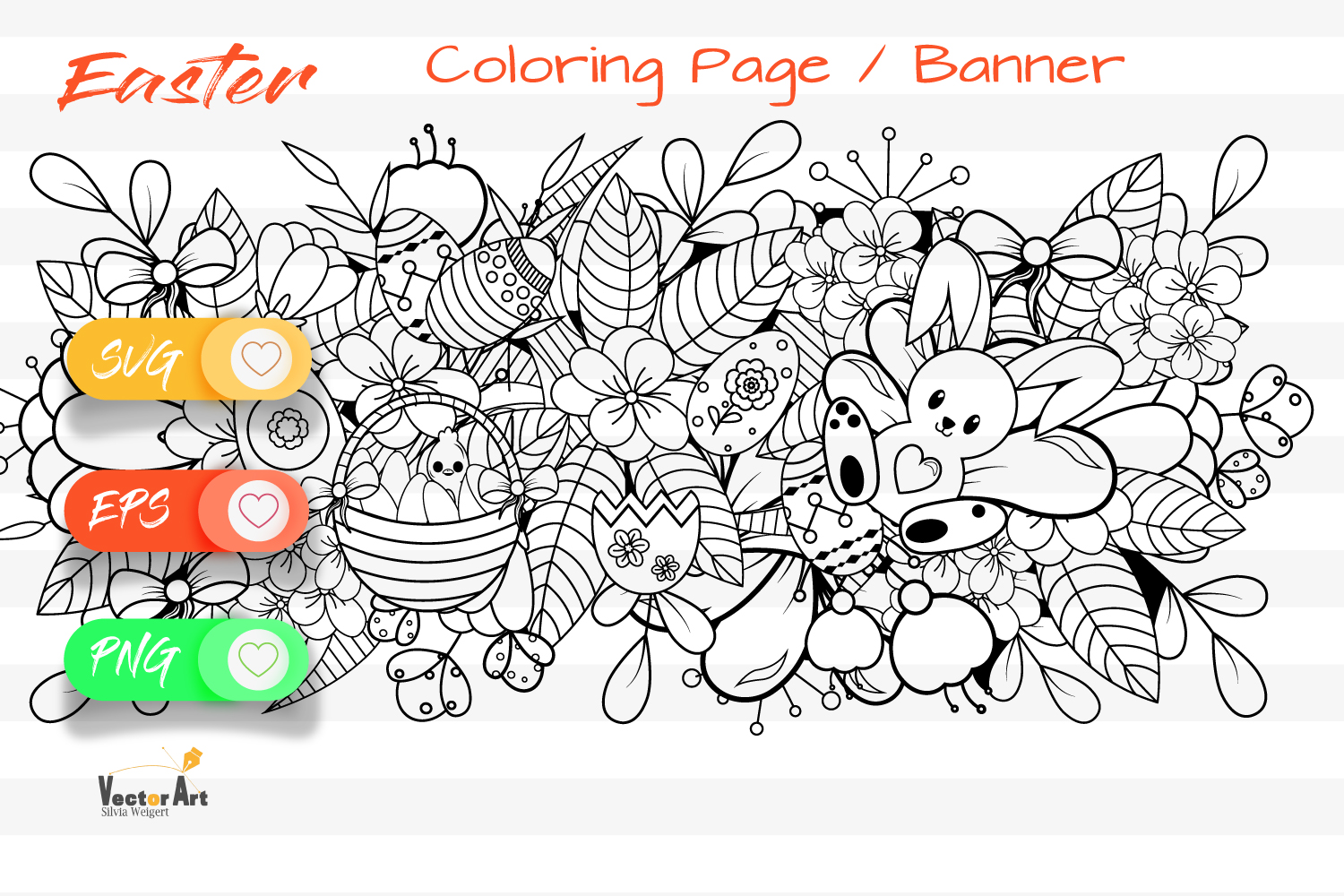 7x Easter and Spring - Mini Bundle - SVG and Coloring Page example image 2