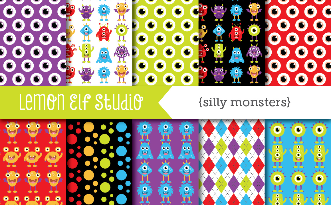 Silly Monsters-Digital Paper (LES.DP03A) example image 1
