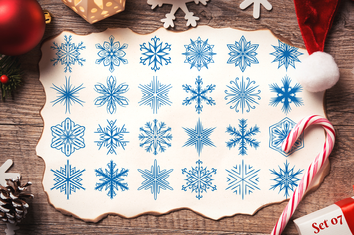 500 Snowflake Vector Ornaments example image 14