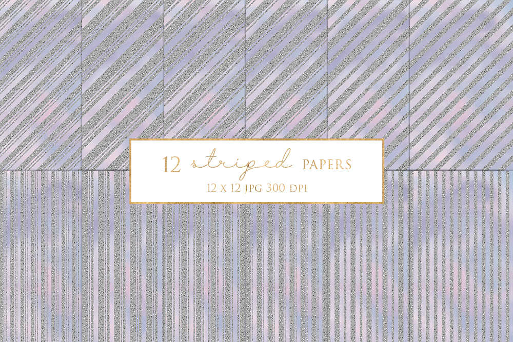 12 Silver Striped Digital Paper Pack example image 1