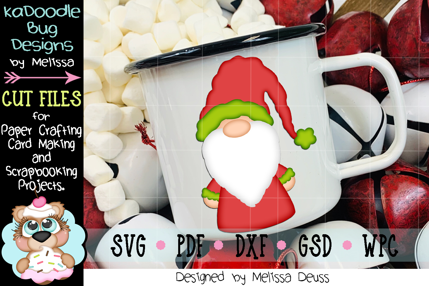 Christmas Gnome Cut File - SVG PDF DXF GSD WPC example image 2