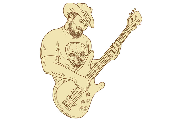 Cowboy Bass Guitar Isolated Drawing example image 1