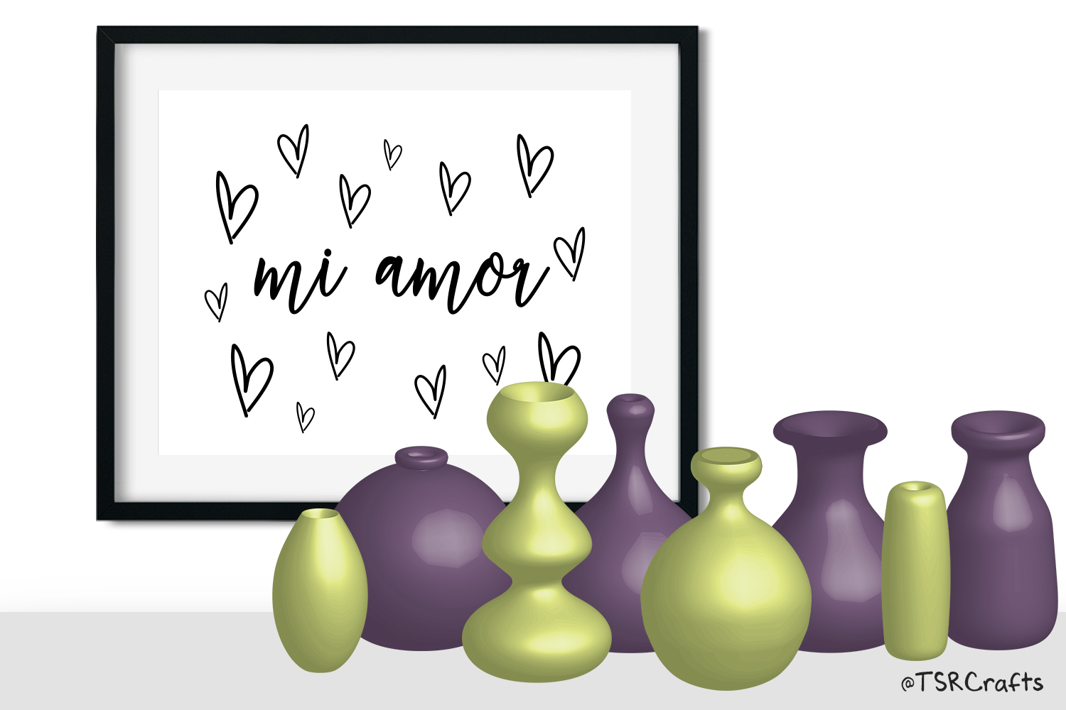 Clip Art Bundle - Flower Vases - Chartreuse and Purple example image 2