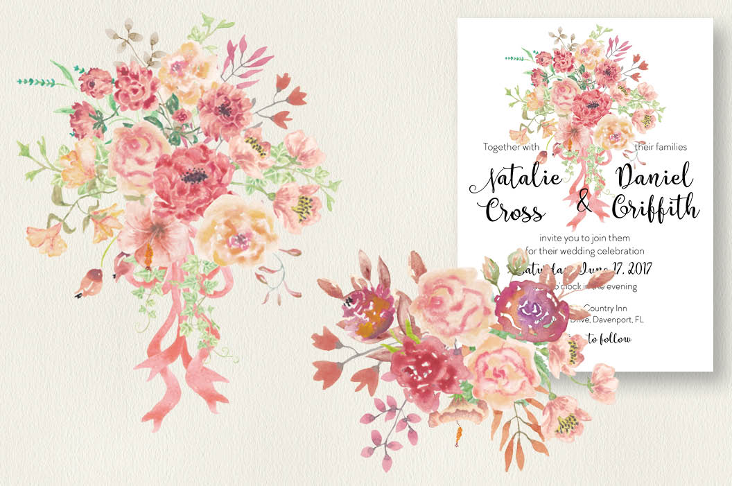 Watercolor sprays of vintage roses example image 2