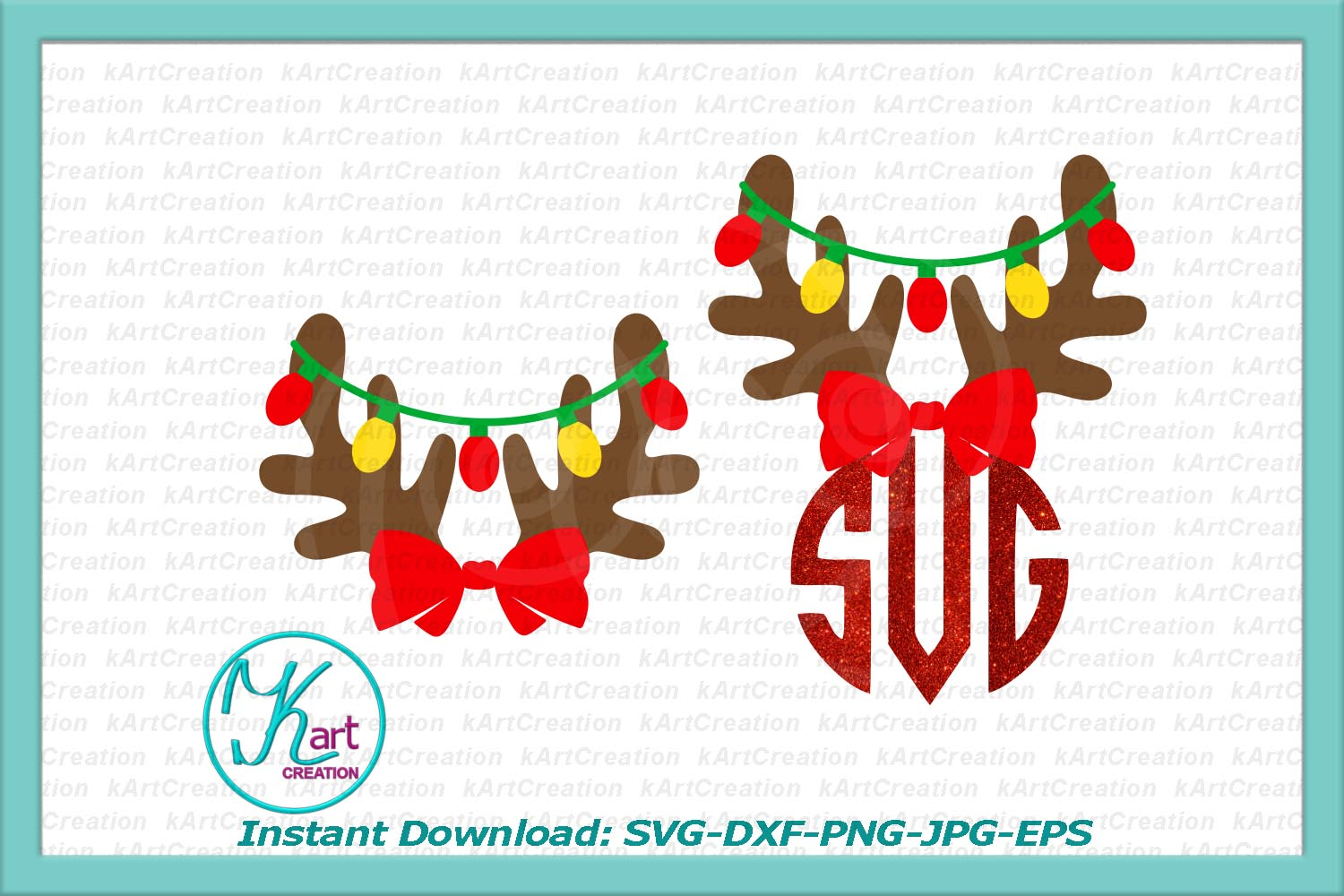 antlers with Christmas lights monogram for boy girl svg dxf example image 3