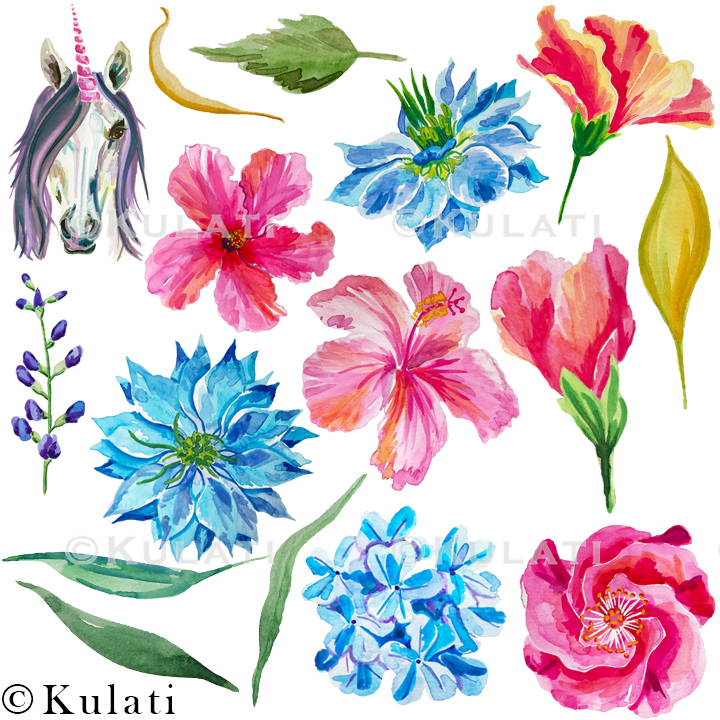 Floral Unicorn Graphics / Clipart / Illustrations example image 3