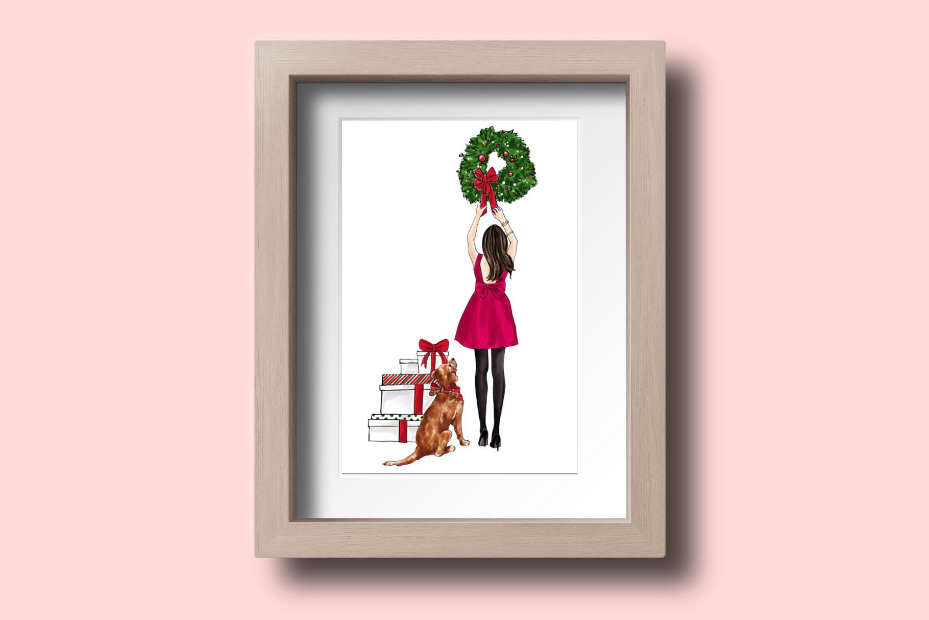 Fashion illustration - Christmas Girl 7 - Brunette example image 6