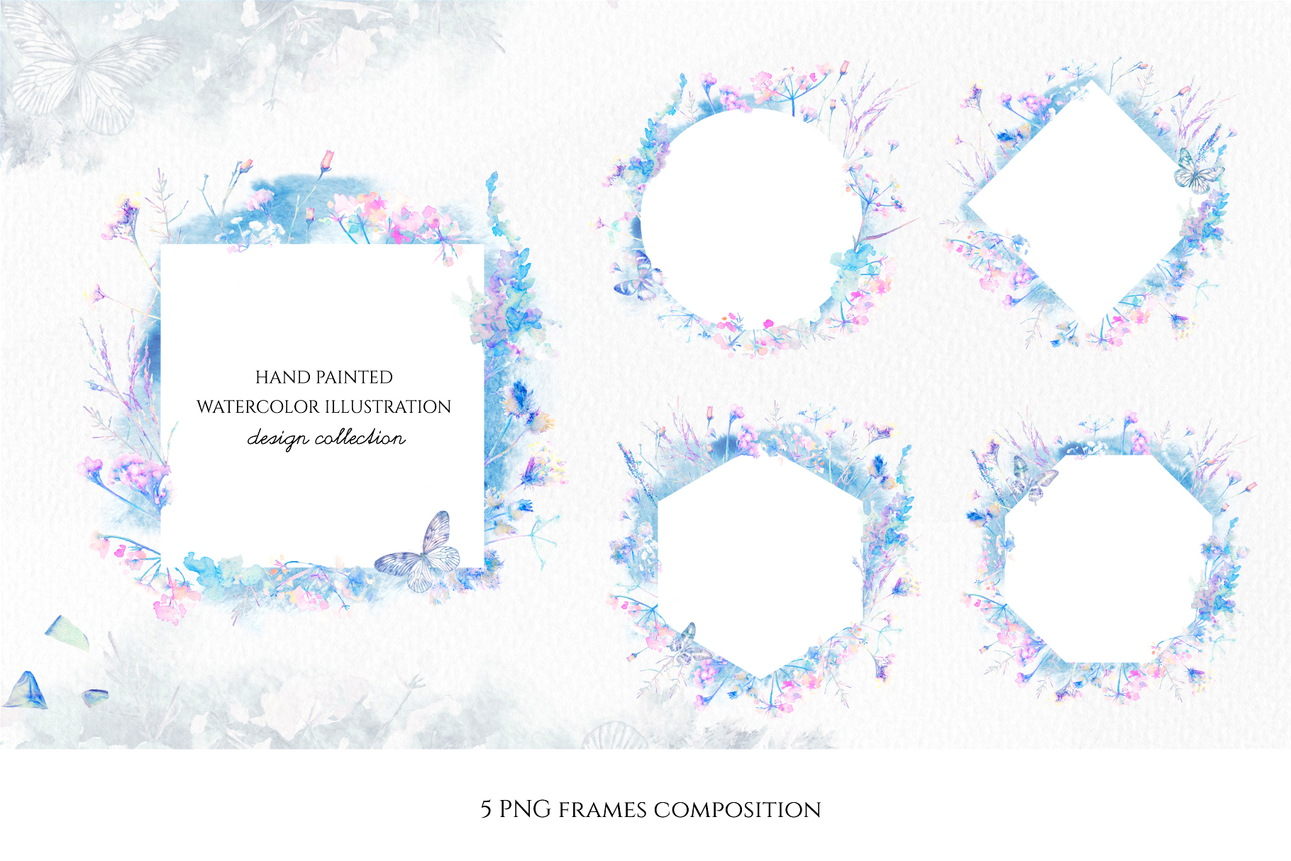 Watercolor floral design collection, herbal and ice example image 9