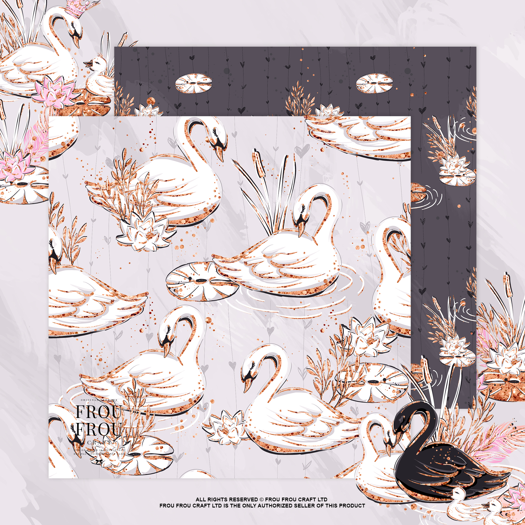 Swan Rose Gold Glitter Nursery Paper Pack example image 6