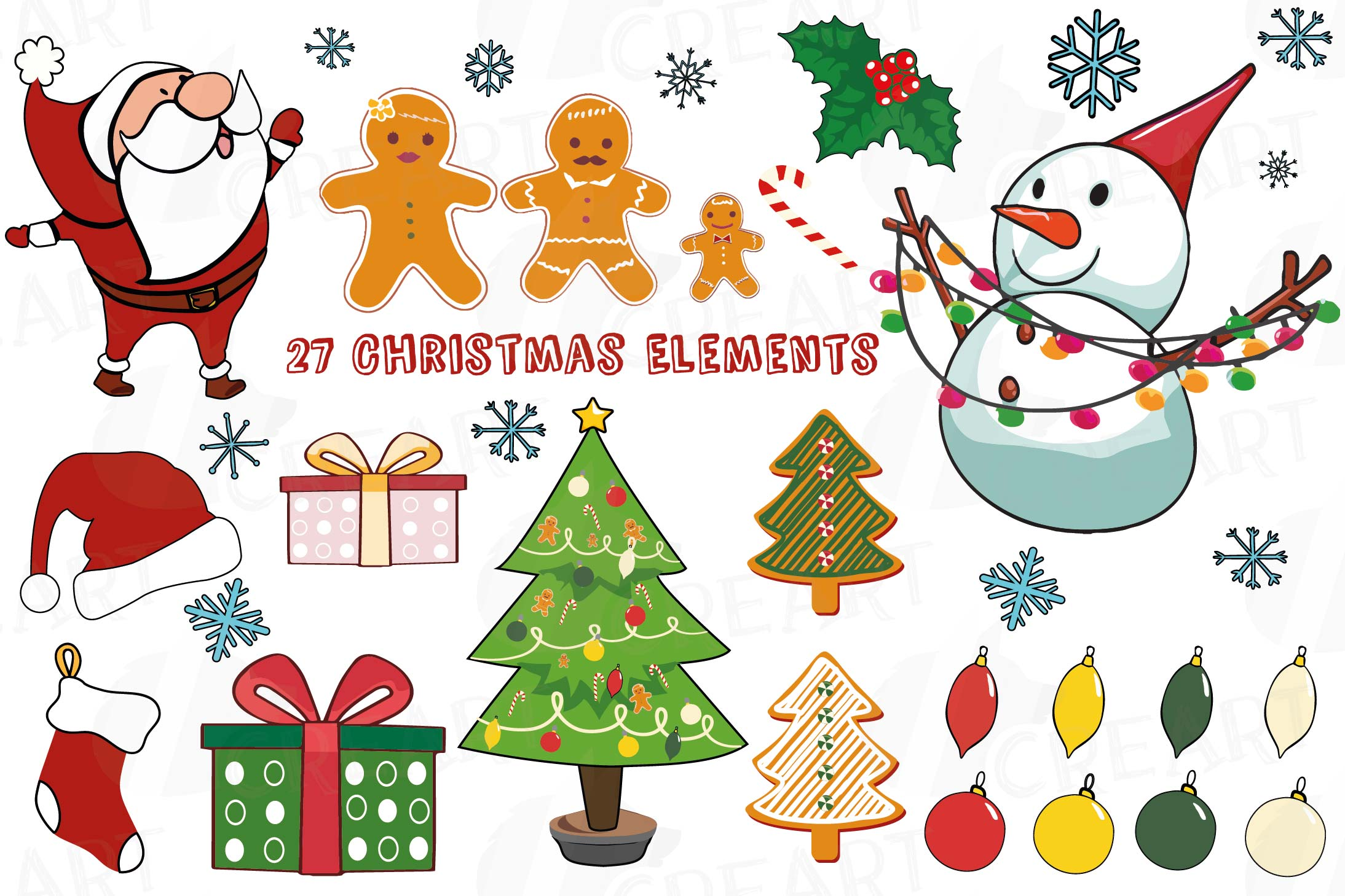 photograph about Printable Christmas Art called Colourful Xmas Things clip artwork pack, printable png