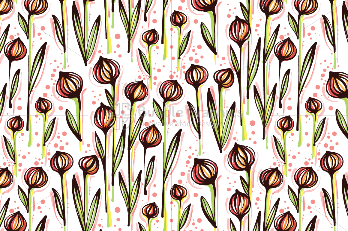 Ball Flower Plants - Creative Seamless Floral Background example image 2