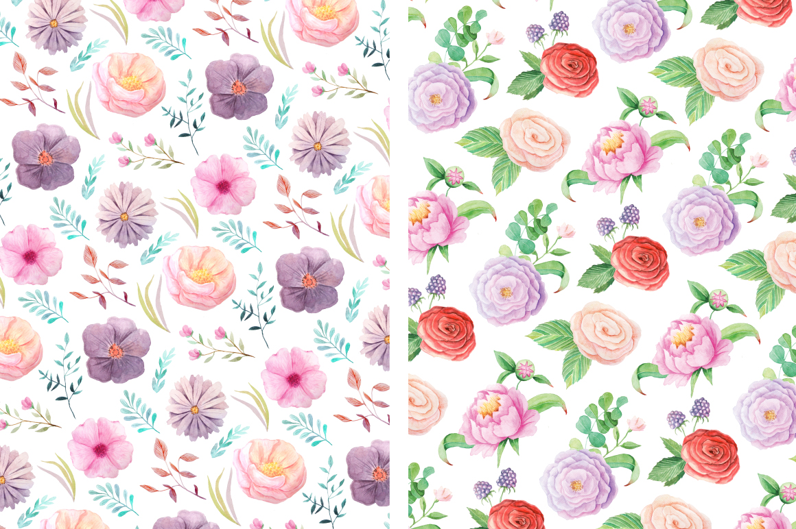 Summer Floral Seamless Patterns example image 3