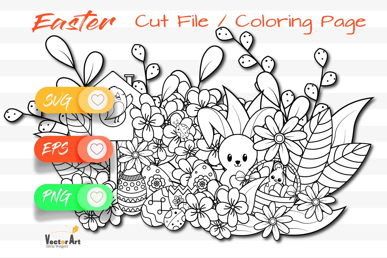 7x Easter and Spring - Mini Bundle - SVG and Coloring Page example image 6
