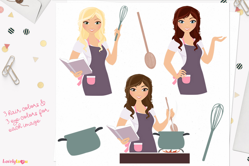 Woman cooking character clip art L181 Brook example image 1