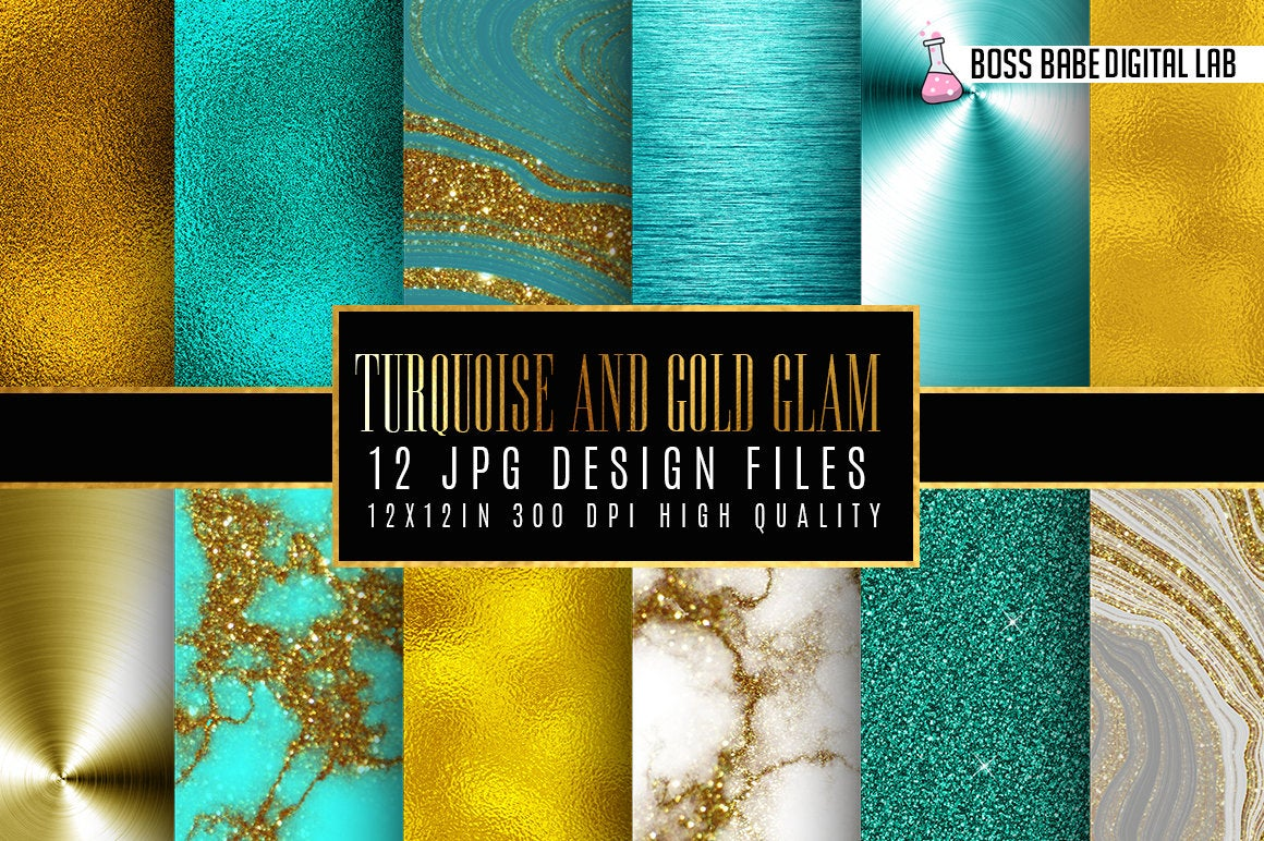 Turquoise and Gold Digital Papers example image 1