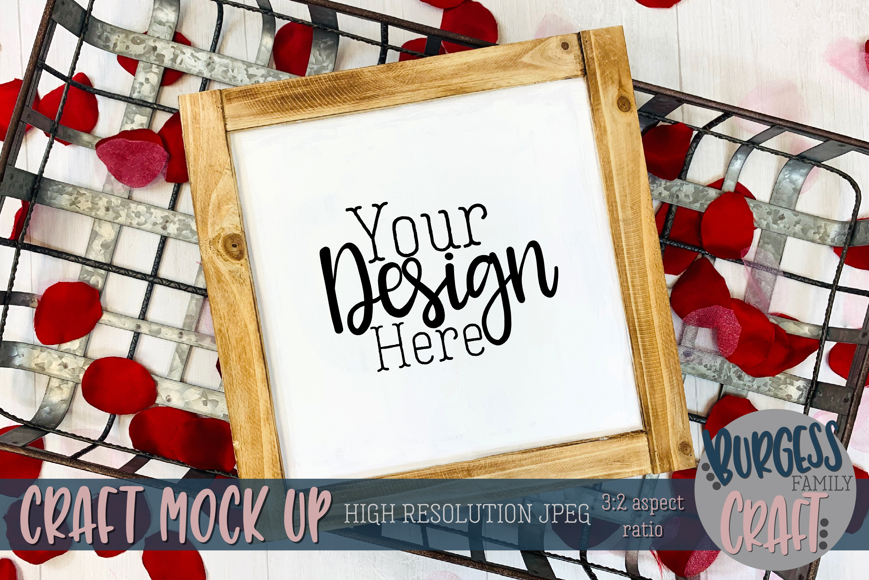 Valentine square wood sign Craft mock up example image 1