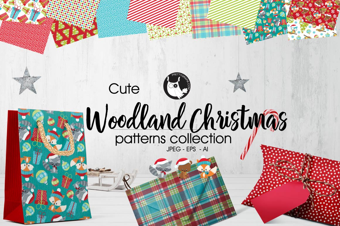 WOODLAND-CHRISTMAS, digital papers example image 1