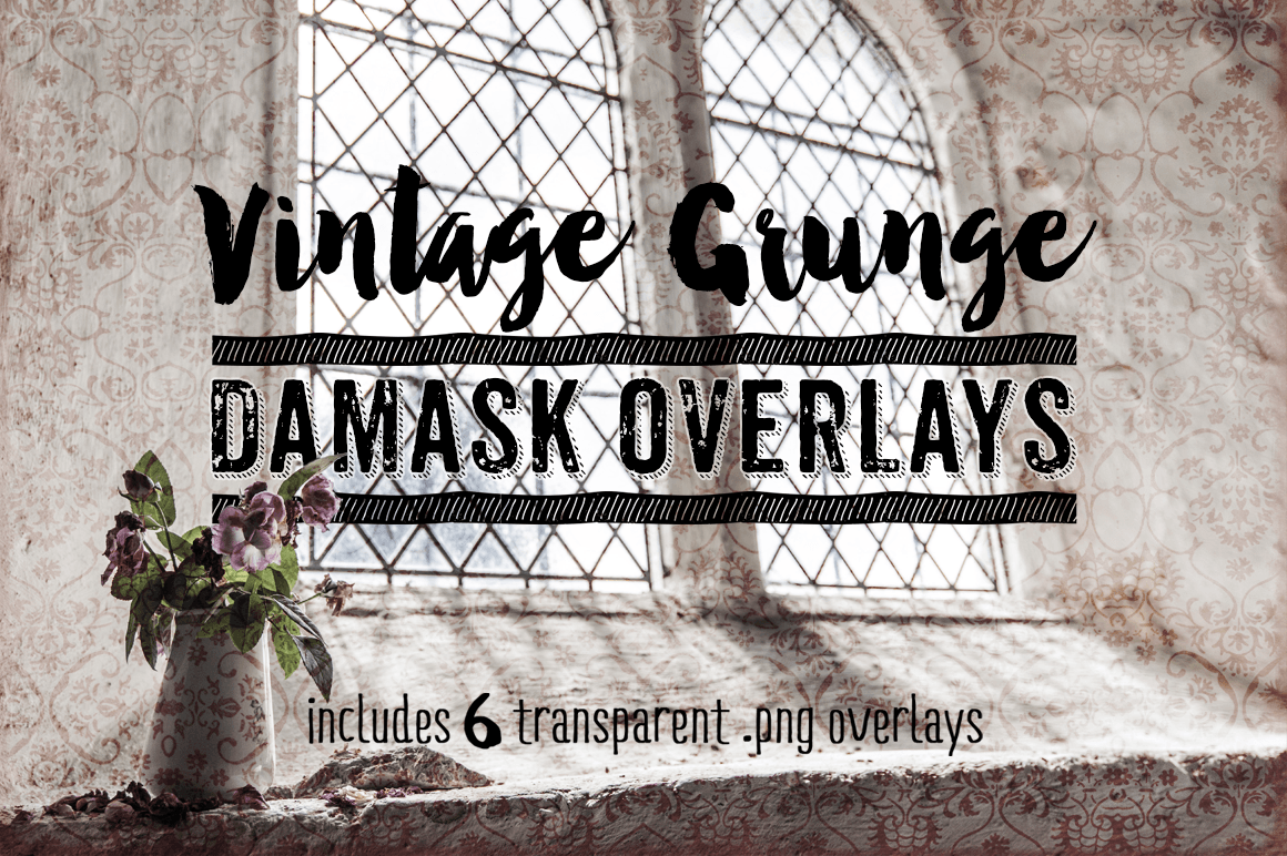 Damask Textures - Vintage Grunge Damask Overlay Textures example image 1