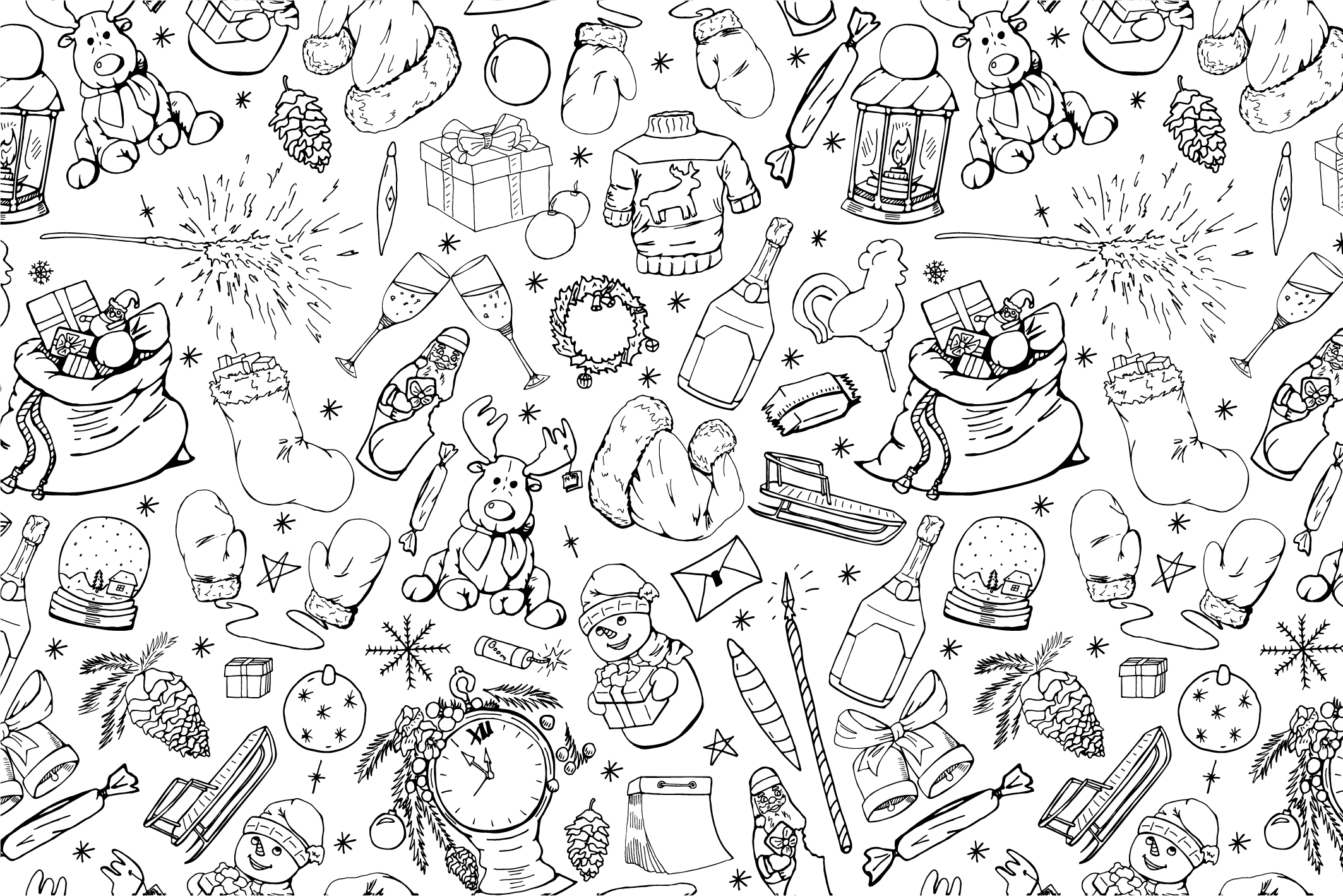Christmas seamless patterns. example image 14