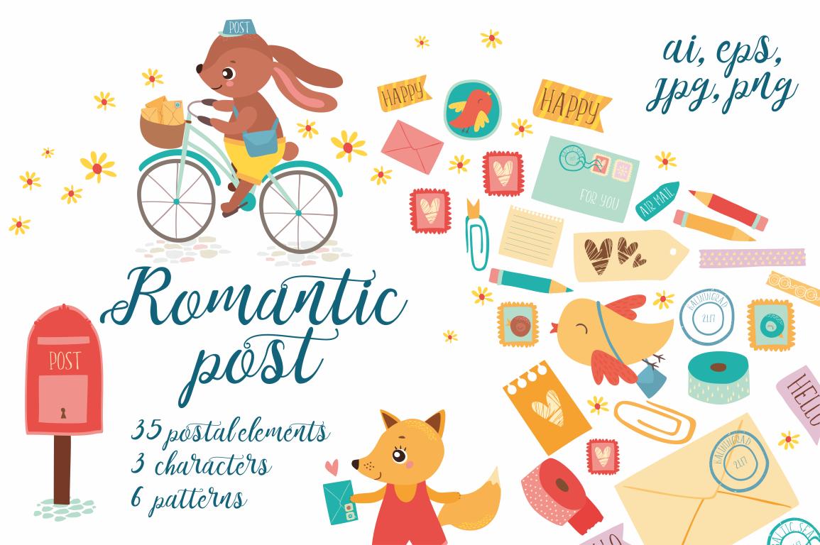 Romantic post / Scrapbooking set example image 1
