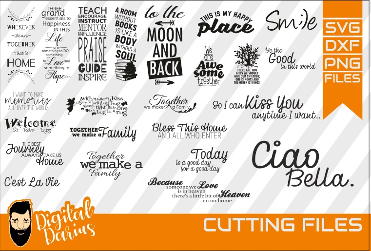 23x Family quote Bundle svg, Home svg, Together, Ciao Bella example image 1