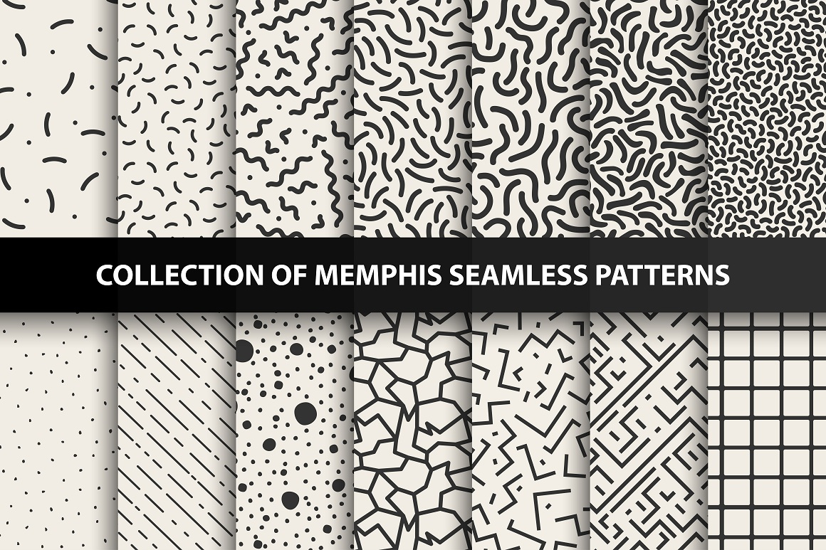 Set of memphis seamless patterns example image 4