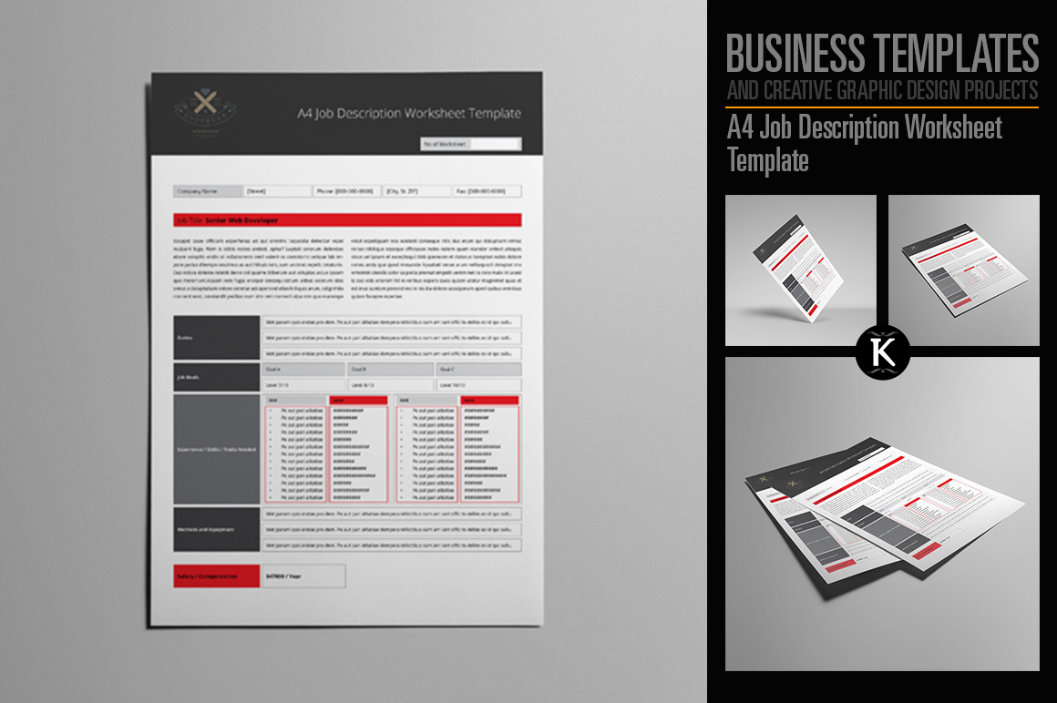 A4 Job Description Worksheet Template example image 1