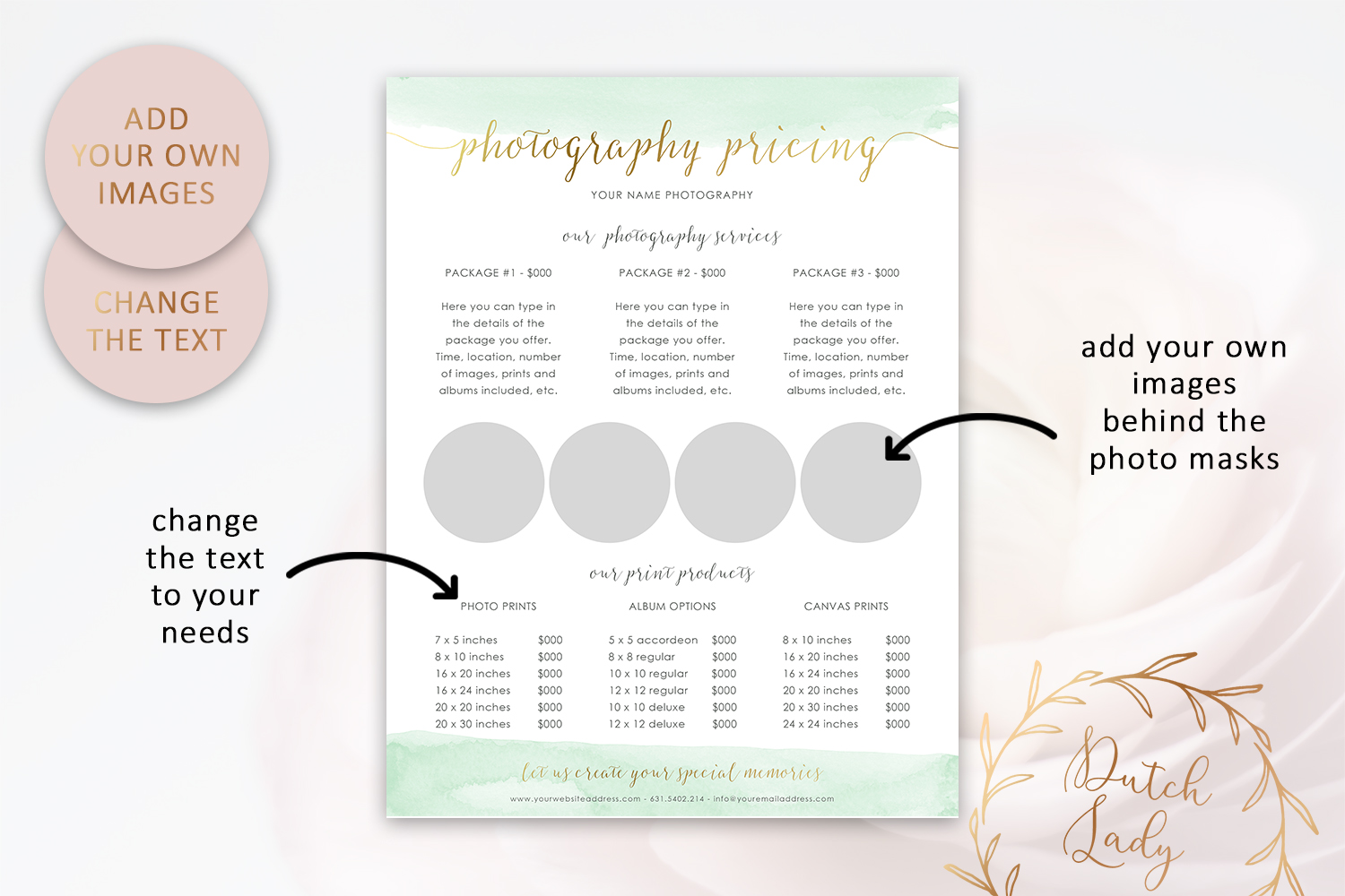 PSD Photography Pricing Guide Template Design #9 example image 3