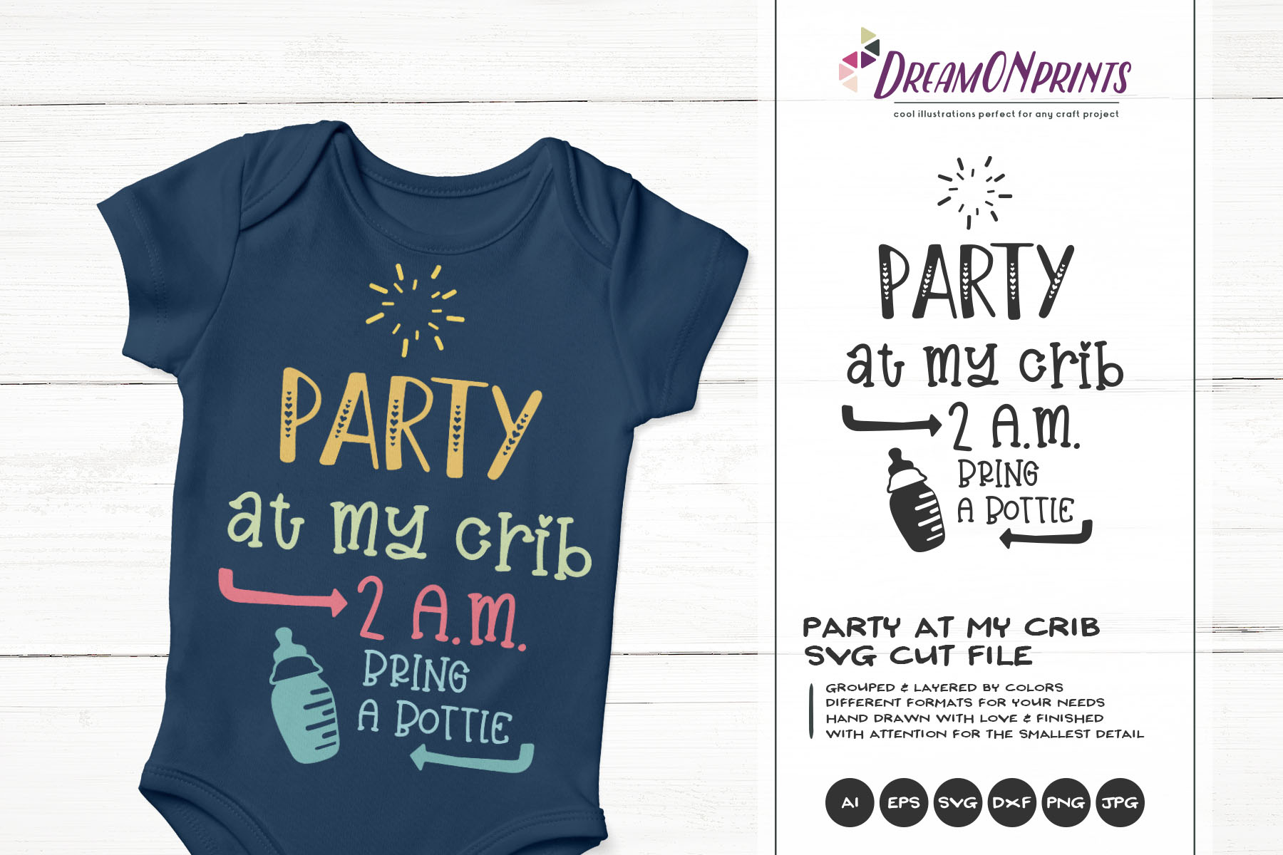 Party at My Crib | Funny New Born SVG Cut Files example image 1