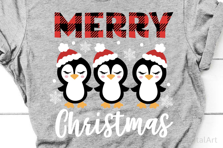 Merry Christmas Svg, Christmas Penguin Svg, Girl Christmas example image 1