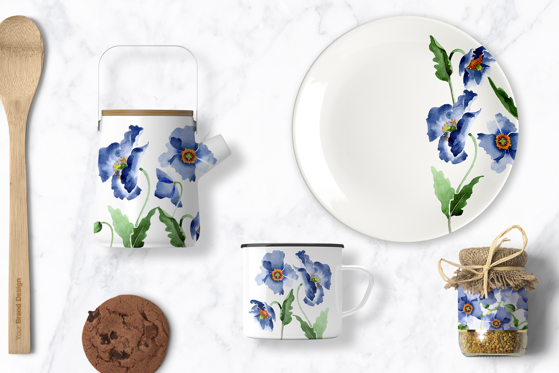 Bouquet of blue poppies Venice watercolor PNG example image 3