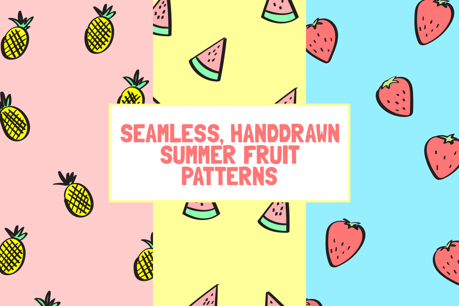 6 Seamless Handdrawn Summer Fruits Pattern Backgrounds example image 1
