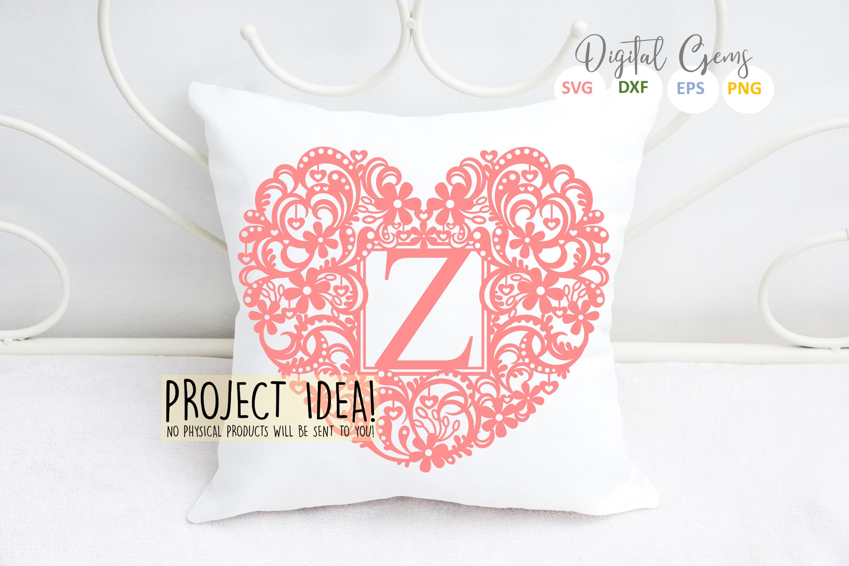Letter Z paper cut design. SVG / DXF / EPS / PNG files example image 3
