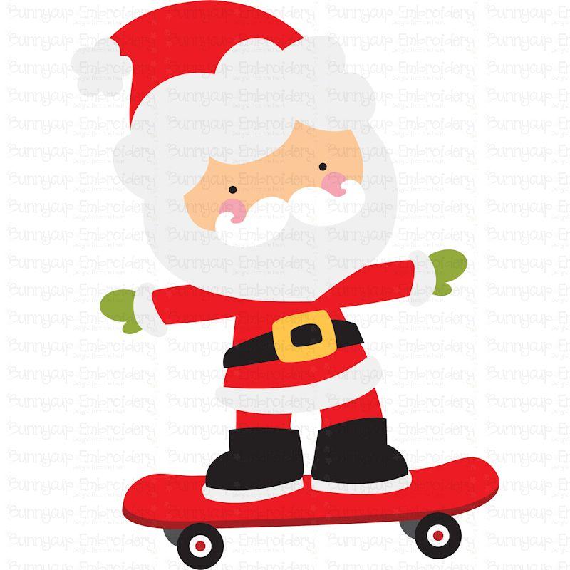 Skateboard Santa - SVG, Clipart, Printable example image 2