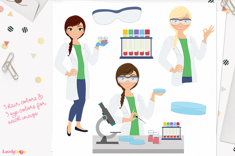 Med lab woman character clip art L287 Ariel example image 1