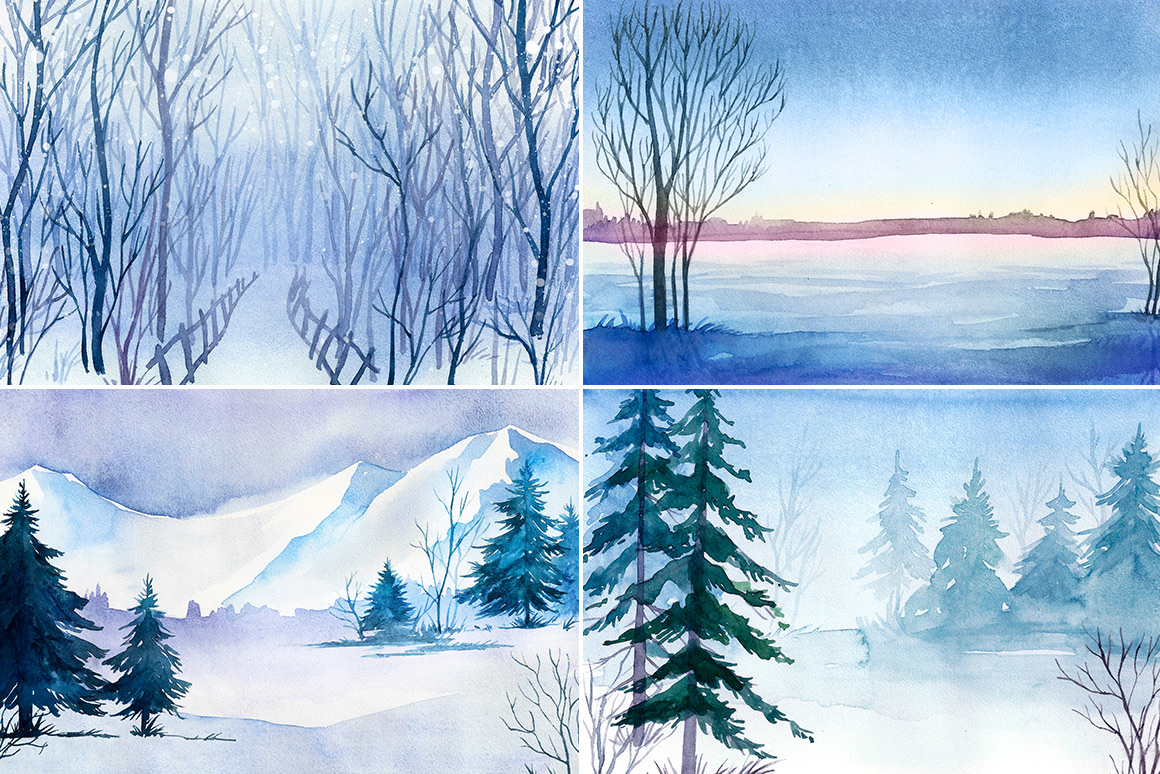 Winter Landscapes. Watercolor. example image 2