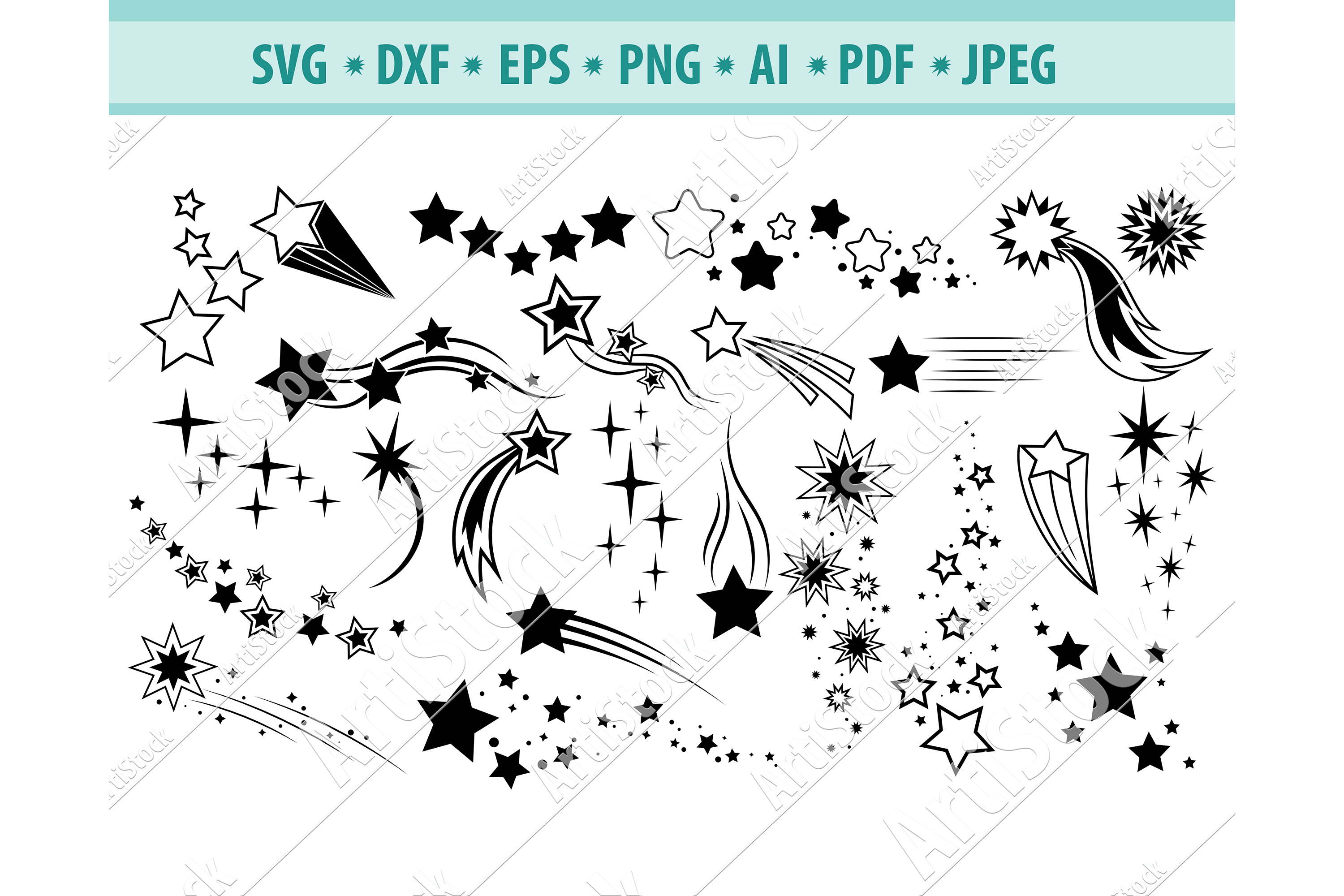 Shooting stars, Falling stars Svg, Comets Svg, Dxf, Png, Eps example image 1