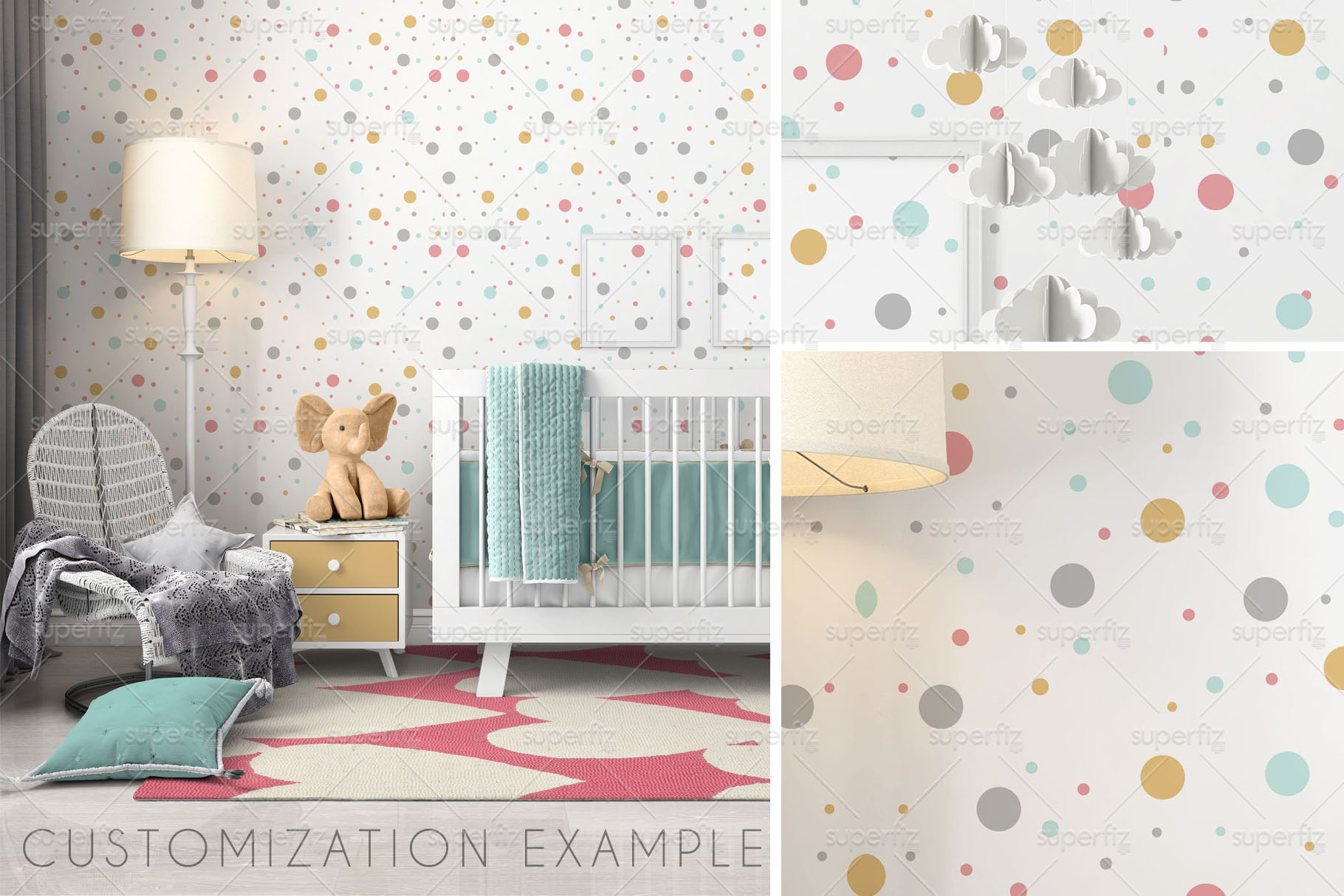 Wallpaper, floor, carpet and frame Mockup Baby Bedroom SM60 example image 7