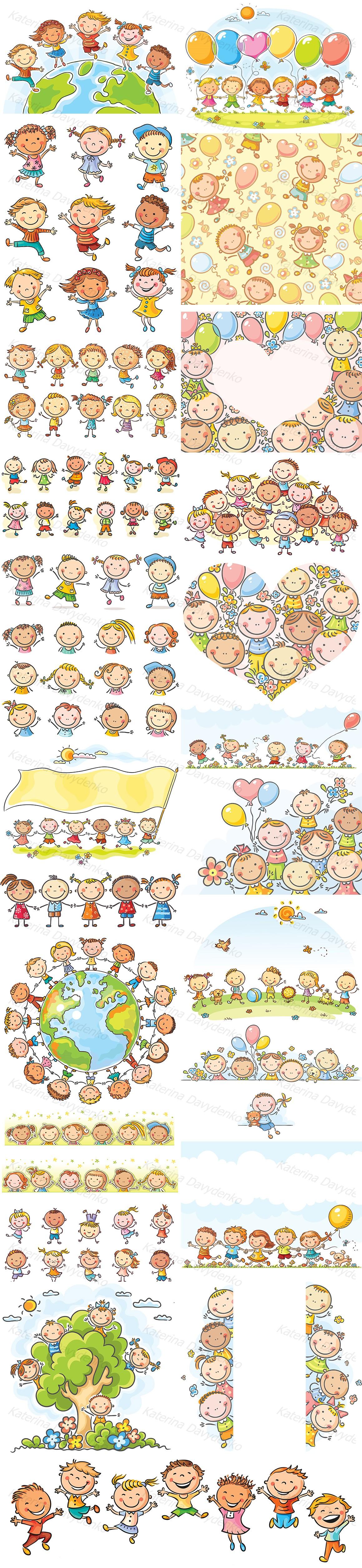 Happy Cartoon Kids Bundle, children doodle, kids doodle example image 2