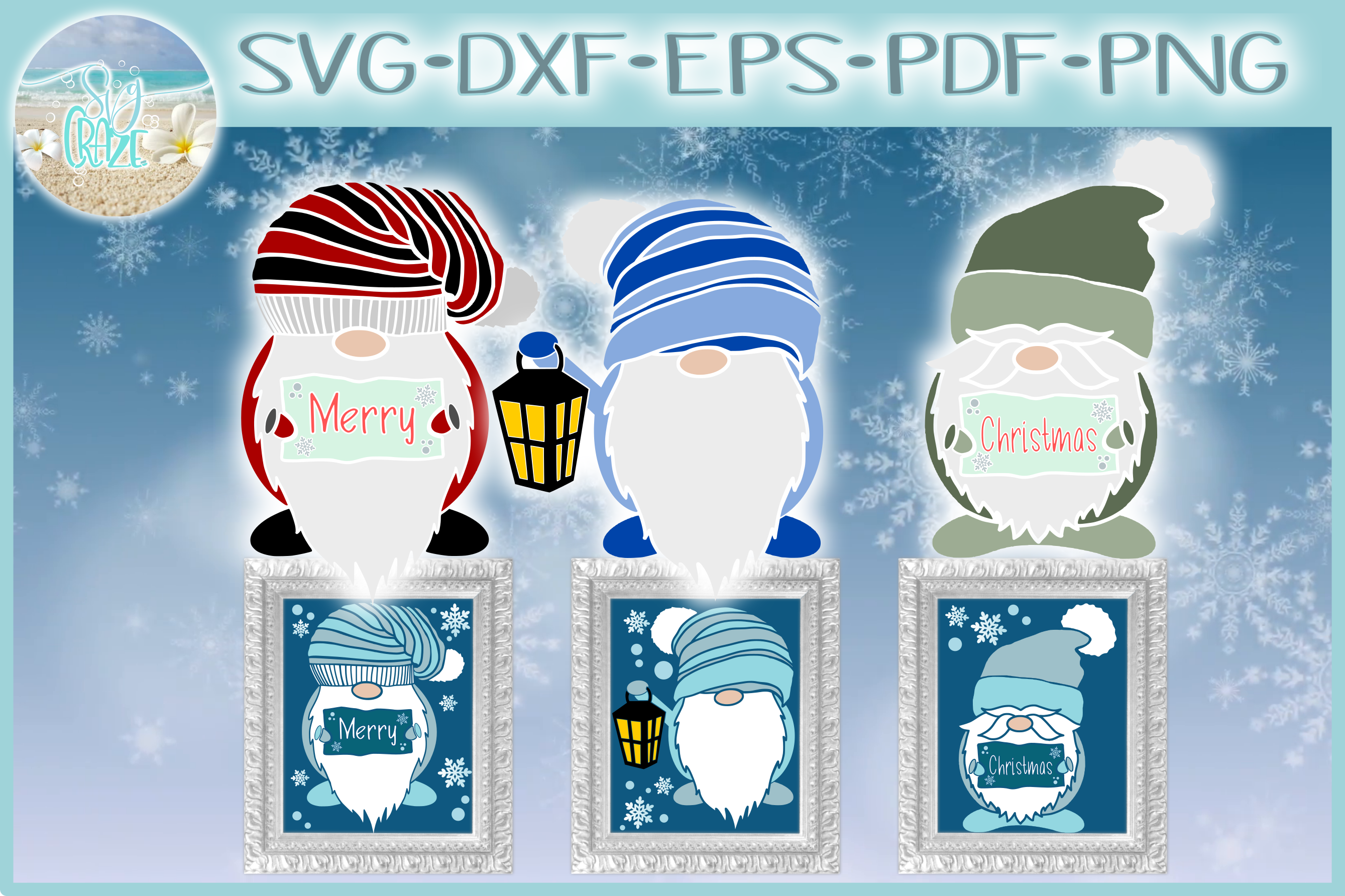 Merry Christmas Gnomes SVG Dxf Eps Png Pdf Files For Cricut example image 1