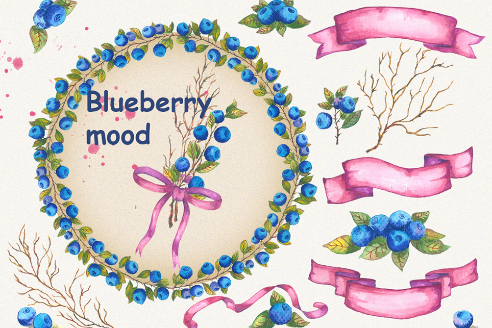 Bluberry clipart, Watercolor clipart, bluberry, wedding example image 1