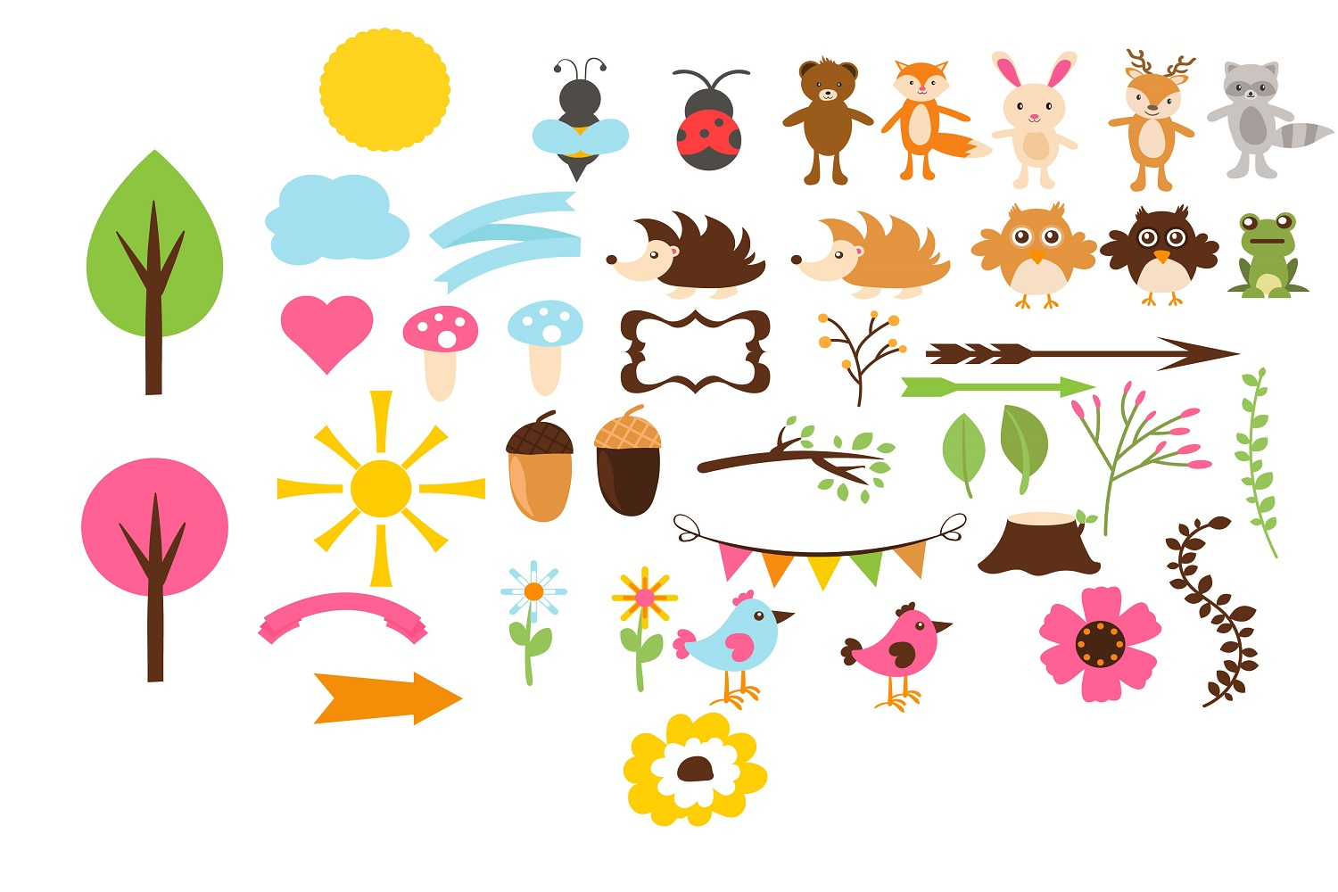 Woodlands cute Animals illustration Vector Pack example image 1